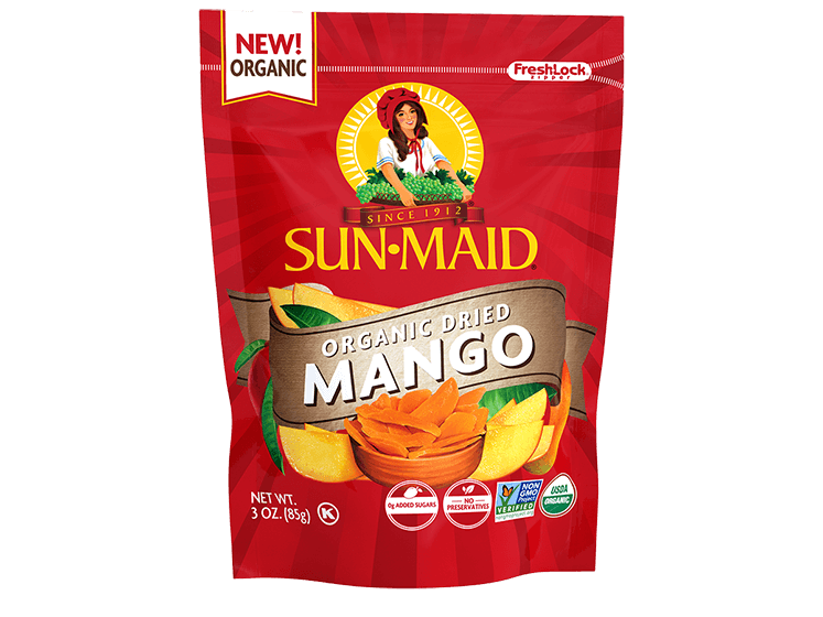 Sun-Maid Organic Dried Mango 3 oz. bag